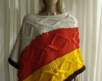 Custom Order - Candy Corn - Hand Knitted PONCHO / CABLE KNIT Poncho / Multi Color Poncho / Bateau Neck Poncho / Thick Poncho / Unisex Poncho