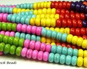 8mm x 5mm Multicolor  Magnesite Gemstone Heishi Beads - 16 Inch Strand (80) - RoundRondelleDiscDonut - BG19