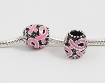 3 Beads -Cancer Awareness Ribbon Pink Enamel Silver European Bead Charm E0121