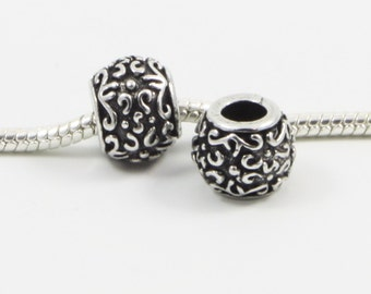 3 Beads - Scroll Flourish Silver European Bead Charm E0312