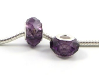 3 Beads - Violet Purple Glass Crystal Faceted Silver European Bead Charm E0459