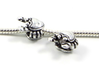 3 Beads - Crab Animal Nautical Louisiana Silver European Bead Charm E0508