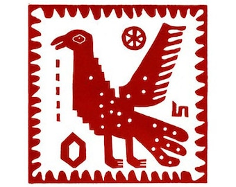 Bird Print 'Peru Standing Bird' Linocut Hand Pulled Original Relief Print Edition of 30
