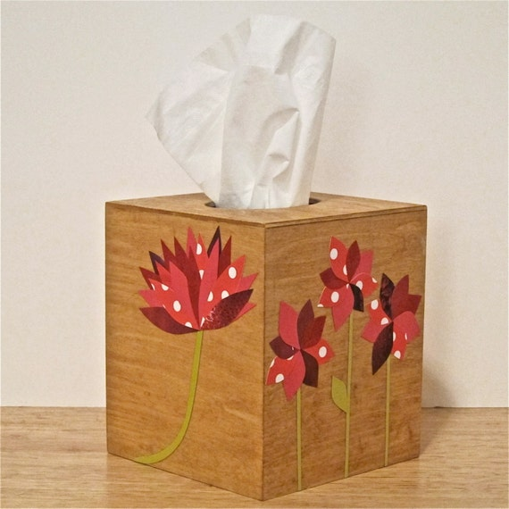 Custom Tissue Box Holder, Wood with Decoupage Collage Flowers, Natural Finish