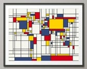 Map of the World Map in the style of Piet Mondrian, Art Print (202)