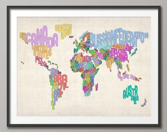 Typographic Text Map of the World Map, Art Print (607)