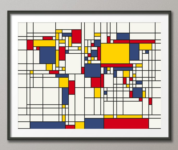Worksheet. Map of the World Map in the style of Piet Mondrian Art Print