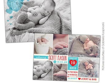 INSTANT DOWNLOAD - Valentine Birth Announcement - Photoshop template - E687