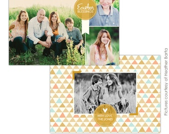 INSTANT DOWNLOAD - Easter Photocard -  Photoshop Template for photographers- E735