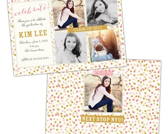 INSTANT DOWNLOAD - Graduation announcement - Photoshop Templates - E789