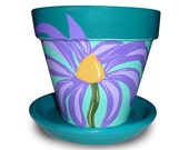 Painted Flower Pot With Prairie Flower - 8-inch
