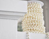 10mm Ivory Faux Pearl Beads on a Spool - Roll - Garland - 66 Foot Strand - LaZoie