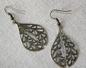 Boho Antique Brass Filigree Teardrop Earrings, The Perfect Goes-With-Everything Earrings