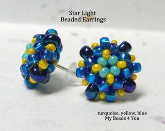 Beaded Earrings,Beadwoven Earrings, Seed Bead Earrings, Stud Earrings, Beaded Post Earrings, Earring, Beadwoven, Beadwork Tutorial