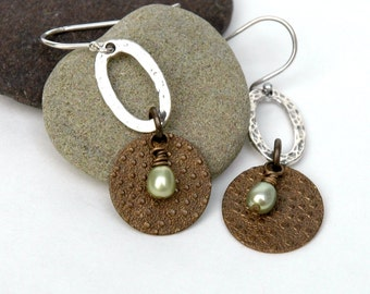 Mixed Metal Earrings, Freshwater pearl, Hammered Sterling silver, Gift for her, Embossed brass Jewelry