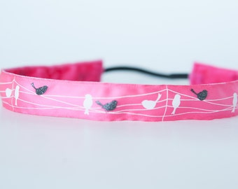 No Slip Headband Printed Satin Three Little Birds 7/8""