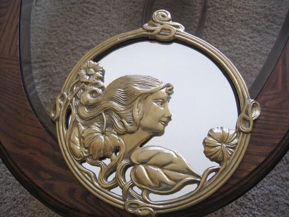 Vintage Art Nouveau Brass Lady Mirror