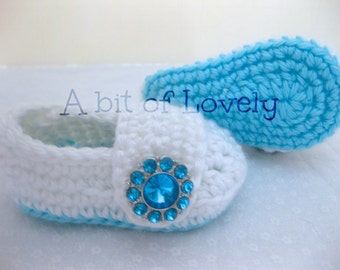 Spring Baby Infant Girl Shoes / Booties - Sky Blue & White Jewel - YOUR choice size - (newborn - 12 months) - photo prop - children