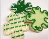Shamrock Sugar Cookies Iced St. Patrick's Day Cookies Green Saint Patty's