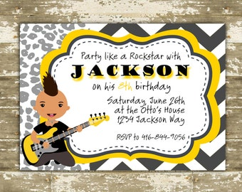 Print Your Own (DIY) Color Customizable Party Like a Rockstar Punk Rock Party Invitations
