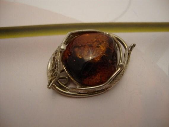 Vintage 1974's Amber Baltic Genuine Dark Honey Color Brooch Russia German Silver