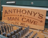 Man Cave Sign Ideas, Personalized Man Cave Sign, Custom Workshop Sign, Benchmark Custom Signs Cherry MC