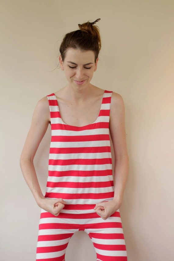Red and White Striped Onesie - 1920's Knitted Cotton Swimsuit-Romper - XS - Last One Left