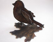 Garden Art Bird Fat Junco from Rusty Recycled Metal Eco Friendly Gift for Gardener