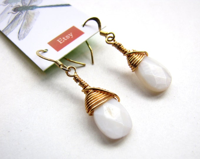 Mother of Pearl Earrings with Faceted Teardrop, Handmade and Wire Wrapped