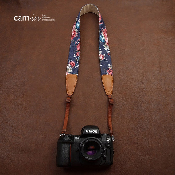 Valentines gift Universal Denim Flower Pattern Genuine Leather Camera Strap / Carrying Strap / Shoulder Strap / Neck Strap / DSLR CAM022