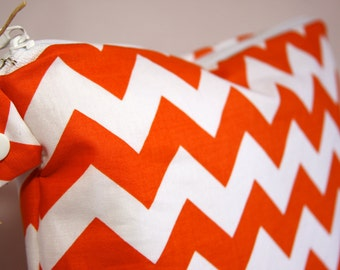 Wet Bag or Eco-Bag with Snap Handle - Waterproof - Chevron - Orange