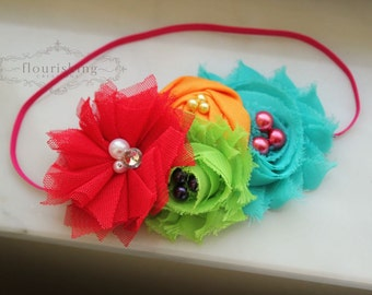 Rainbow Goodness headband, rainbow headbands, red headbands, turquoise headbands, summer headbands, newborn headbands, photography prop