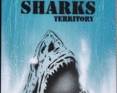 San Jose Sharks Territory Original Stencil Art on wood Spray Paint & Acrylics