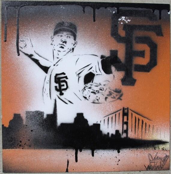 SF Giants Matt Cain Original Stencil Painting on MDF board
