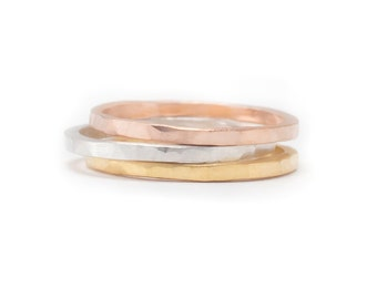 3 Metal Ring Set - Set of 3 Ring Bands - Whisper Thin RIngs - Hammered Texture - Available in sizes 5, 5.5, 6, 6.5, 7, 7.5 and 8