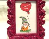 Decorative Garden Gnome with Heart Balloon Digital Print in Dark Pink Frame child decor babys room decor Christmas Birthday Gift home decor