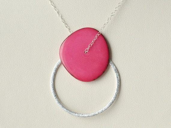 Hot Pink Necklace- Sterling Silver Necklace- Circle Necklace- Silver Circle Pendant Necklace- Bridesmaid Necklace- Customizable Colorful