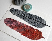 Feather Painting Watercolor Modern Art - Archival Print - Bodhi Feathers