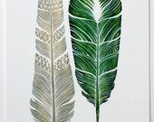 Feathers Watercolor Art Painting - Modern Home Decor - Archival Print - Dharma Feathers