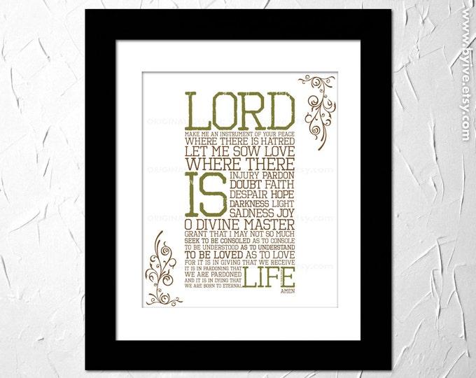 St Francis Prayer, Inspirational Prayer Printed, Peace prayer, Soul, Subway Art. Unframed.
