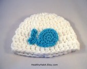 Baby Whale Hat, Etsy Baby Hat, White Newborn Hat, Girl Whale Beanie, Little One Hat, Boy Whale Hat, Crochet Fish Hat, Hospital Hat