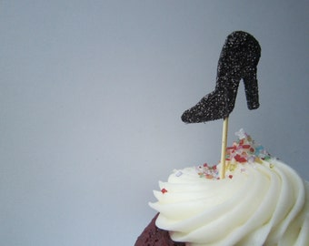 Black Glitter Finish Heel Cupcake Toppers 20 pieces