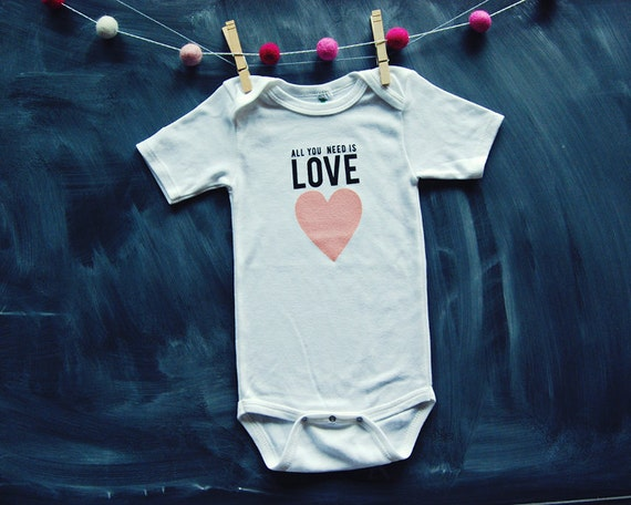 Baby Bodysuit All You Need is Love by HENANDCO on Etsy