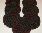 Hunter Green & Burgundy Red Crochet Scrubbies - Handmade Set of 7