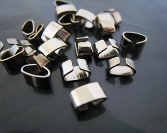 Finding - 10 pcs Silver Metal Without Loop Fold Over Crimp Head Clips 6.5mm x 4mm