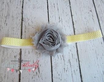 Gray, Yellow, & White Chevron Headband -  Photo Prop - Newborn Infant Baby Toddler Girls Adult