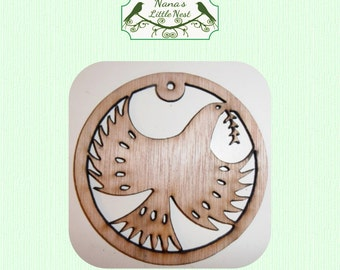 Dove With Olive Branch Ornament - Laser Cut Wood