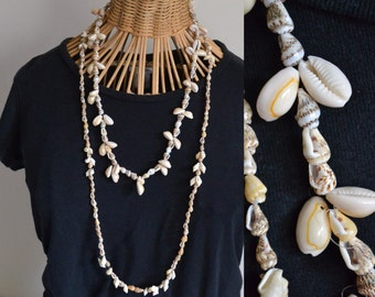 Vintage Long Cowry Sea Shell Necklaces. Hawaiian Leis Seashell Chain Jewelry Tropical Island Hawaii South Pacific Exotic Yellow Orange Brown