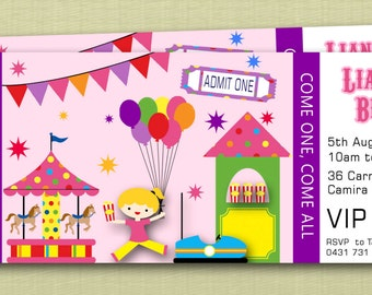 Ticket Style Circus Carnival Birthday Invitations - You Print