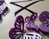 Purple Pearl Table Numbers Card Table Tag with Butterflies and Crystals